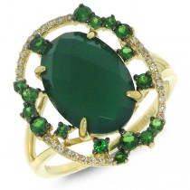 0.09ct Diamond & 4.31ct Green Agate & Green Garnet 14k Yellow Gold Ring