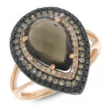 0.58ct White, Champagne & Black Diamond & 2.76ct Smokey Topaz 14k Rose Gold Ring