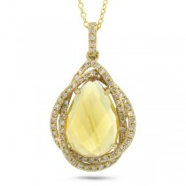 0.25ct Diamond & 3.00ct Citrine 14k Yellow Gold Pendant Necklace