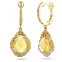 0.48ct Diamond & 3.58ct Citrine 14k Yellow Gold Earrings