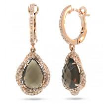 0.48ct Diamond & 3.75ct Smokey Topaz 14k Rose Gold Earrings
