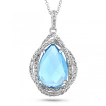 0.25ct Diamond & 3.69ct Blue Topaz 14k White Gold Pendant Necklace