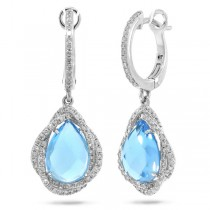 0.48ct Diamond & 4.56ct Blue Topaz 14k White Gold Earrings
