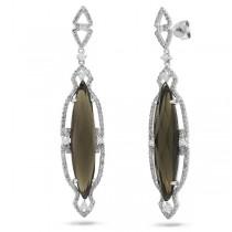 0.90ct Diamond & 10.00ct Smokey Topaz 14k White Gold Earrings