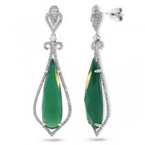 0.67ct Diamond & 10.34ct Green Agate 14k White Gold Earrings