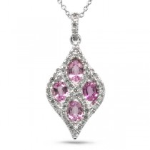 0.26ct Diamond & 0.86ct Pink Sapphire 14k White Gold Pendant Necklace