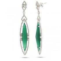 1.02ct Diamond & 7.49ct Green Agate 14k White Gold Earrings