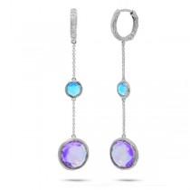 0.07ct Diamond & 10.91ct Amethyst & Blue Topaz 14k White Gold Earrings