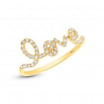 0.28ct 14k Yellow Gold Diamond ''Love'' Ring Size 5