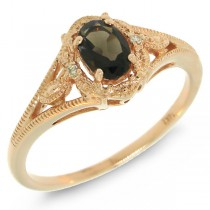 0.52ct 14k Rose Gold Diamond & Smokey Topaz Ring