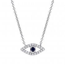 0.09ct Diamond & 0.08ct Blue Sapphire 14k White Gold Eye Necklace