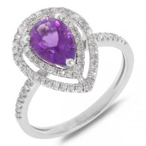 0.38ct Diamond & 1.23ct Amethyst 14k White Gold Ring