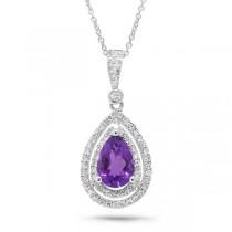 0.38ct Diamond & 1.16ct Amethyst 14k White Gold Pendant Necklace