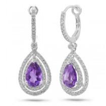 0.76ct Diamond & 2.29ct Amethyst 14k White Gold Earrings