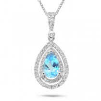 0.38ct Diamond & 1.56ct Blue Topaz 14k White Gold Pendant Necklace