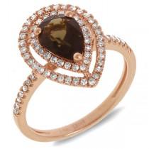 0.38ct Diamond & 1.25ct Smokey Topaz 14k Rose Gold Ring