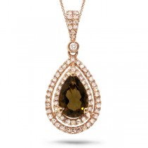 0.38ct Diamond & 1.24ct Smokey Topaz 14k Rose Gold Pendant Necklace