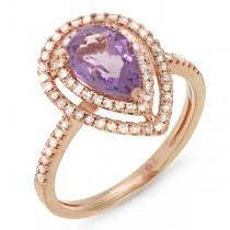 0.38ct Diamond & 1.23ct Amethyst 14k Rose Gold Ring