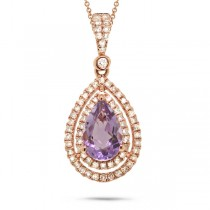 0.38ct Diamond & 1.16ct Amethyst 14k Rose Gold Pendant Necklace