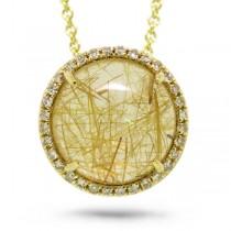 0.10ct Diamond & 3.77ct Golden Line Quartz 14k Yellow Gold Pendant Necklace