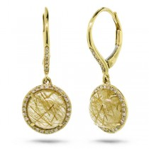 0.21ct Diamond & 5.84ct Golden Line Quartz 14k Yellow Gold Earrings