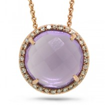 0.10ct Diamond & 3.48ct Amethyst 14k Rose Gold Pendant Necklace
