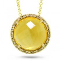 0.10ct Diamond & 3.46ct Citrine 14k Yellow Gold Pendant Necklace