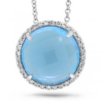 0.10ct Diamond & 4.58ct Blue Topaz 14k White Gold Pendant Necklace