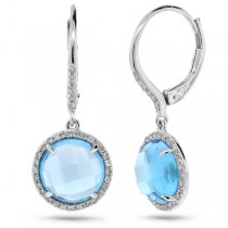 0.21ct Diamond & 6.36ct Blue Topaz 14k White Gold Earrings