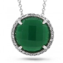 0.10ct Diamond & 3.32ct Green Agate 14k White Gold Pendant Necklace