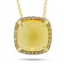 0.09ct Diamond & 2.78ct Citrine 14k Yellow Gold Pendant Necklace