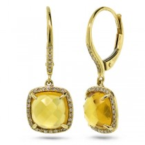 0.21ct Diamond & 4.01ct Citrine 14k Yellow Gold Earrings