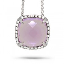 0.09ct Diamond & 2.76ct Amethyst 14k White Gold Pendant Necklace