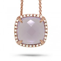 0.09ct Diamond & 2.76ct Amethyst 14k Rose Gold Pendant Necklace