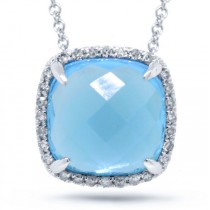 0.09ct Diamond & 3.86ct Blue Topaz 14k White Gold Pendant Necklace