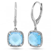 0.21ct Diamond & 5.17ct Blue Topaz 14k White Gold Earrings