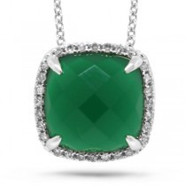 0.09ct Diamond & 2.76ct Green Agate 14k White Gold Pendant Necklace