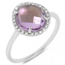 0.10ct Diamond & 2.15ct Amethyst 14k White Gold Ring