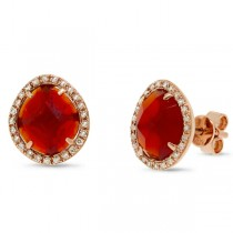 0.15ct Diamond & 2.65ct Red Agate 14k Rose Gold Earrings