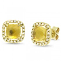 0.21ct Diamond & 1.78ct Citrine 14k Yellow Gold Earrings