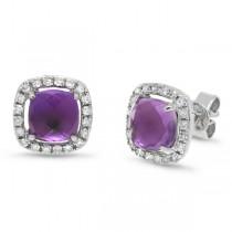 0.21ct Diamond & 1.83ct Amethyst 14k White Gold Earrings