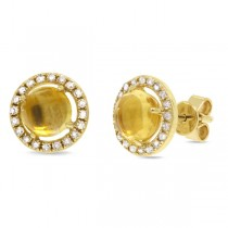 0.21ct Diamond & 1.57ct Citrine 14k Yellow Gold Earrings