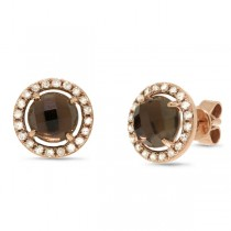 0.21ct Diamond & 1.65ct Smokey Topaz 14k Rose Gold Earrings