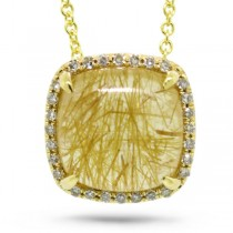 0.09ct Diamond & 3.21ct Golden Line Quartz 14k Yellow Gold Pendant Necklace