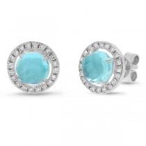0.21ct Diamond & 2.38ct Blue Topaz 14k White Gold Earrings