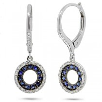 0.21ct Diamond & 0.32ct Blue Sapphire 14k White Gold Earrings