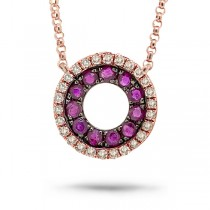0.09ct Diamond & 0.27ct Ruby 14k Rose Gold Necklace