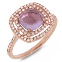 0.39ct Diamond & 1.52ct Amethyst 14k Rose Gold Ring