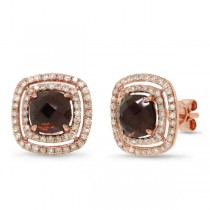 0.58ct Diamond & 2.13ct Smokey Topaz 14k Rose Gold Earrings