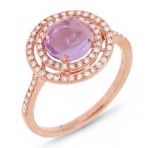 0.37ct Diamond & 1.21ct Amethyst 14k Rose Gold Ring